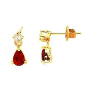 Simply Glamorous Jewellery And Gifts Shop - 18ct Gold Filled Red Ruby Cubic Zirconia Earrings