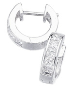 Elements Sterling Silver Ladies' E266C Channel Set Square Cubic Zirconia Hoop Earrings