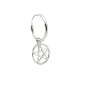Men's 925 Solid Sterling Silver Pentagram Single Hoop Earring - Gift Boxed - For the Special One