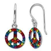 Multi Coloured Crystal Peace Logo Hoop Drop Pierced Earrings - Comes with FREE Gift Pouch - The hoops measure approx. 1 cm x 1 cm