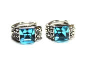 Rhodium Plated Crystal Hoop Earrings - Dainty 6mm Aqua Blue Crystal with Clear Crystal Surround - Includes Gift Box