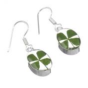 Sterling Silver drop earrings with real roses - teardrop + free giftbox
