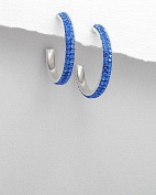 Sterling Silver hoop earrings in Capri Blue