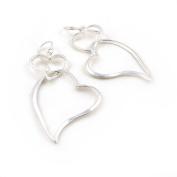 Long Solid 925 Silver Double Heart Hoops Drop Earrings Jewellery