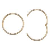 15mm Hinged Plain Hoop Earrings - 9ct Yellow Gold Sleeper Hoop Earrings