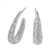 Gemini London Jewellery's Cluster Loop Earrings - Made with Clear. Crystals, 38mm drop Length, Rhodium Plated Silver Finish.