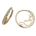 9ct Gold Cubic Zirconia Heart Hoop Earrings