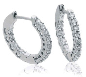 0.50CT Certified G/VS2 Round Brilliant Cut Claw Set Diamond Hoop Earrings in 18K White Gold