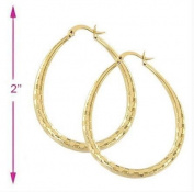 Simply Glamorous Jewellery And Gifts Shop - 9ct Gold Filled Large Diamond Cut Oval Hoops Earrings 50x38MM
