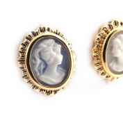 "Gold plated earings ""Camee"" blue."