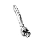 Men's 925 Silver Single Hoop Skull Earring - Gift Boxed - For the Special One at Christmas