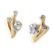 "Earrings plated gold ""Scarlett"" blue topaz."