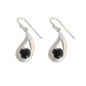 Paisley Shaped Black Onyx Gemstone 925 Sterling Silver Hanging Earrings
