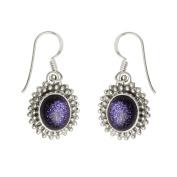 Blue Sun Sitara Glitter Gemstone Oval Shaped 925 Sterling Silver Earrings