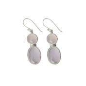 925 Sterling Silver Earrings Studded with Light Rose Quartz Gem Stone