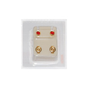 Studex Ear Piercing Gold Plated Birthstone Stud Earrings 4mm Bezel Setting - January / Garnet