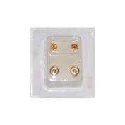 Studex Ear Piercing Gold Plated Birthstone Stud Earrings 4mm Bezel Setting - November / Topaz