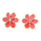 Colour Enamel Fashion Jewellery Earrings for Teen Girl Women Pink Flower