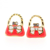 Colour Enamel Fashion Jewellery Earrings for Teen Girl Women Pink Hand Bag