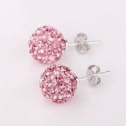 Shamballa Style Earrings 8mm Disco Ball on Silver Stud - Pink