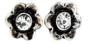 Silver Finished Little Flower Stud with Central Glass Crystal