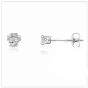 ROUND BRILLIANT CLEAR WHITE CUBIC ZIRCONIA CZ STUD EARRINGS 3MM