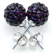Busy Bead Pair of Shamballa Stud Earrings With Amethyst Crystal Rhinestone Clay Disco Ball 8mm