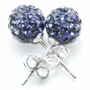 Busy Bead Pair of Shamballa Stud Earrings With Tanzanite Crystal Rhinestone Clay Disco Ball 10mm
