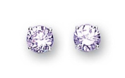 Sterling Silver Cubic Zirconia Stud Earrings 6Mm Round