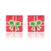 Christmas earrings - Pink present xmas stud earrings - Suitable for women and children - Matching necklace available - Will arrive in a gift bag perfect stocking filler