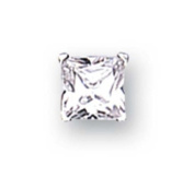 Sterling Silver 6mm Square Cubic Zirconia Gent's Stud Earring