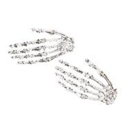 Cool Punk Gothic Big Skeleton Hand Shining Silver Stud Earring--1 Pair