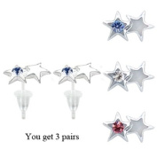 Star stud earrings with. crystals - hypo allergic UPVC posts - white gold plated so looks like real - you get a set of 3 - easy to wear, suitable for everyday wear