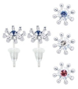 Snowflake stud earrings with. crystals - hypo allergic UPVC posts - white gold plated so looks like real - you get a set of 3 - easy to wear, suitable for everyday wear