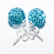 Shamballa Earrings 8mm Disco Ball on Sterling Silver (925) Stud - Electric Blue Add some bling to your life!