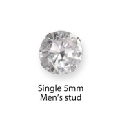 Sterling Silver Cubic Zirconia MEN'S Round Stud - SINGLE Earring - Beckham style 5769SINGLE,Size:5mm. Shipped in Good quality SILVER GIFT BOX by 1st class mail Clear
