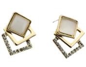 Fashion Pretty Rhinestone Opal Square shape Stud Earrings For Lady Women Girls