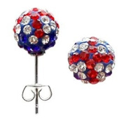 Crystal Union Jack Silver Stud Earrings by BodyTrend © - 8MM ball - bling bling!! - Packed in a lovely velvet pouch