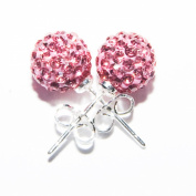 Shamballa Earrings 8mm Disco Ball on Silver Stud - Pink