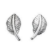 Feather Stud Earrings In Sterling Silver