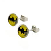 Jewellery of Lords 8mm Pair Black & Yellow Batman Acrylic & Surgical Stainless Steel Satellite Stud Earrings