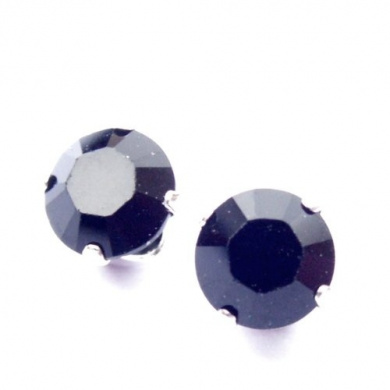 Men's 925 Sterling Silver Stud Earrings set with Jet Black. Crystal Stones. Gift Box. Made in England. Beautiful jewellery for very special people.