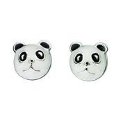 Panda Bear Stud Earrings In Sterling Silver