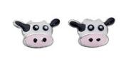 Enamel Cow Stud Earrings In Sterling Silver