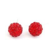 Silver Tone Ruby Red Crystal Ball Stud Earrings