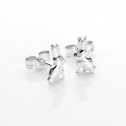 925 Sterling Silver Sitting Bunny Rabbit Stud Earrings / Studs