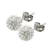 Shamballa Style Sparkly 8mm Ball Stud Earrings - Sterling Silver Austrian Crystal Studs
