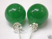 Solid Sterling Silver 8MM Natural Gemstone Ball Studs With Butterfly Backs In Malay Jade