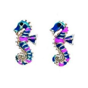 Pink and Blue Seahorse Stud Earrings In Sterling Silver