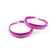 Divadoo Hot Pink Crystal Hoop Earrings